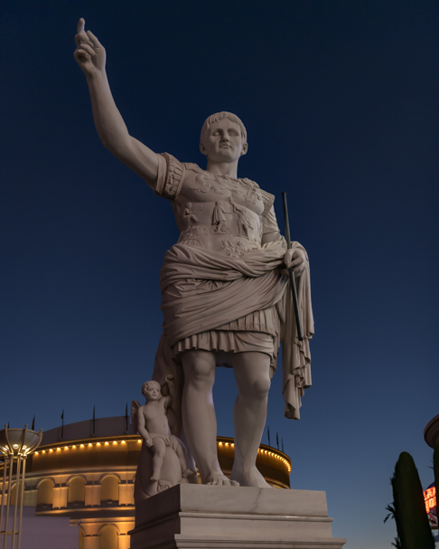 Outside Caesars Palace on the Las Vegas Strip