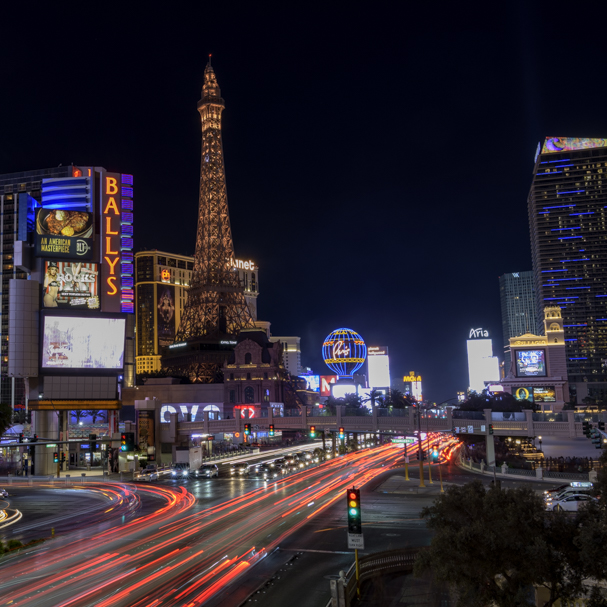 Light trails along the Las Vegas Strip