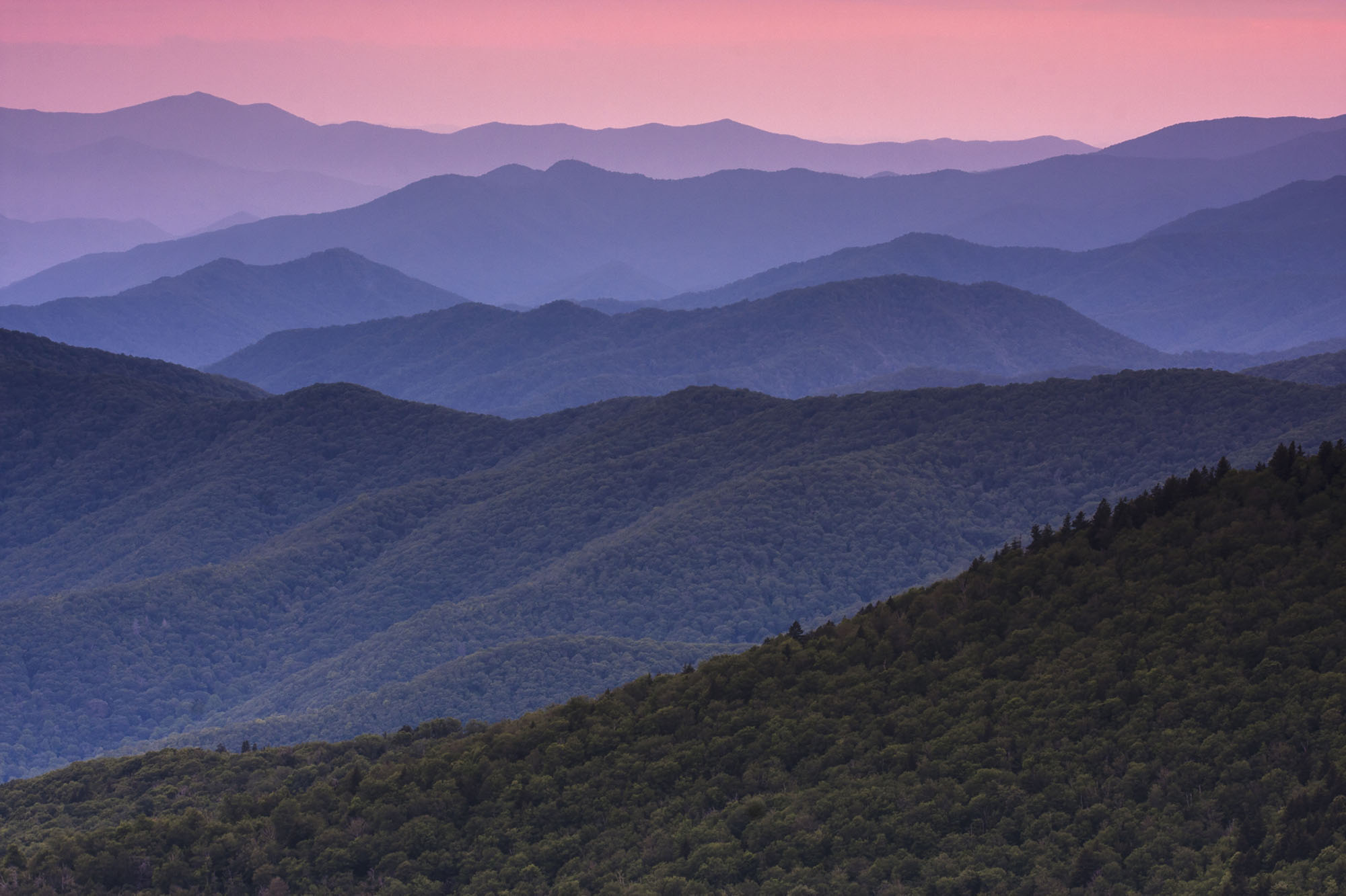 Great Smoky Mountains,USA,The Great Smoky Mountains in Tennessee at dusk.