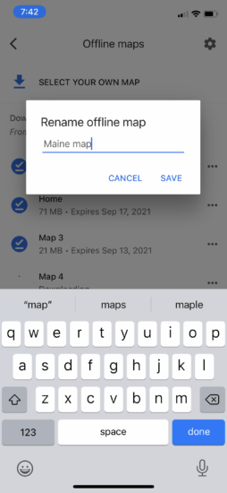 Re-name and Save your offline map in Google Maps