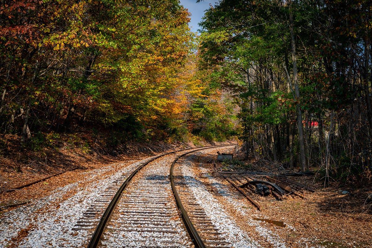 Train tracks in Ludlow, Vermont