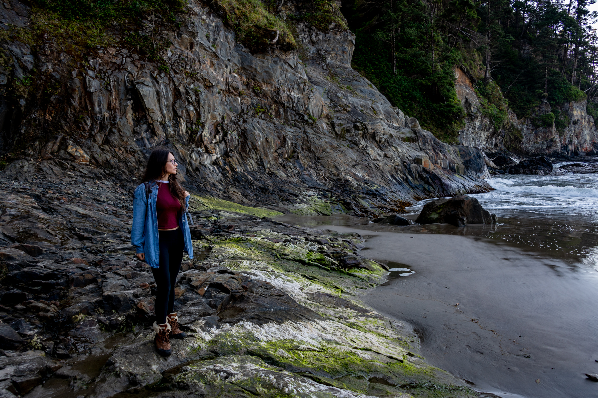 Kristy keeps an eye on the Pacific Ocean at Short Sand Beach in Oregon