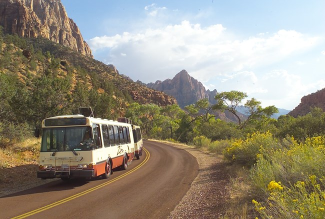 Shuttle at Zion National Park