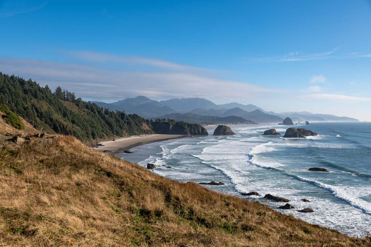 Crescent Beach view from Ecola State Park in Clatsop County, Oregon