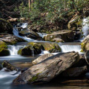 Waterfalls along the trail at Catwaba Falls