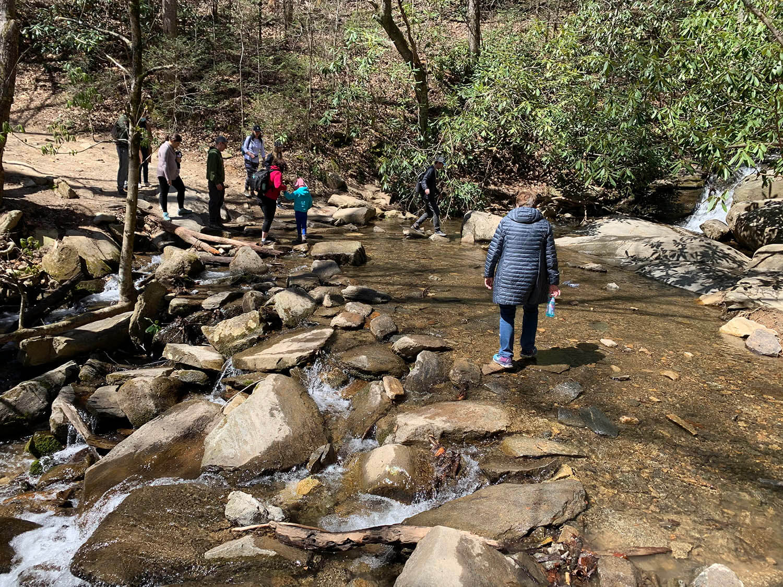 Catawba Falls Hike - Stream Crossing