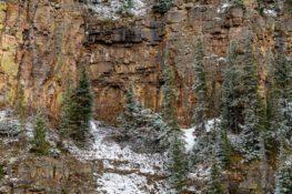 A close up look at snow on the canyon walls at Yellowstone National Park