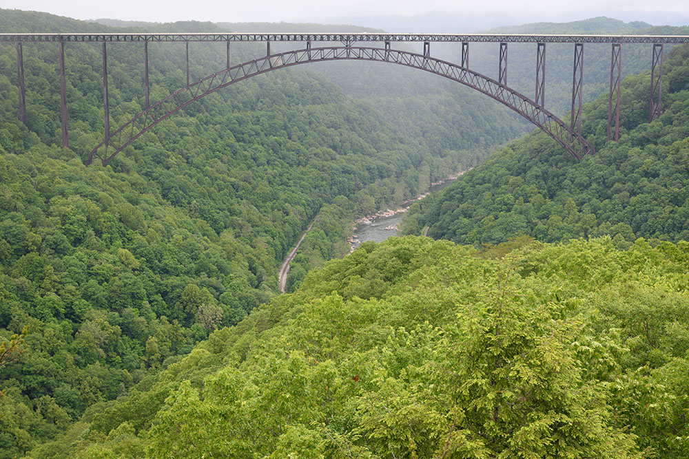 The view of the New River Gorge Bridge from Long Point