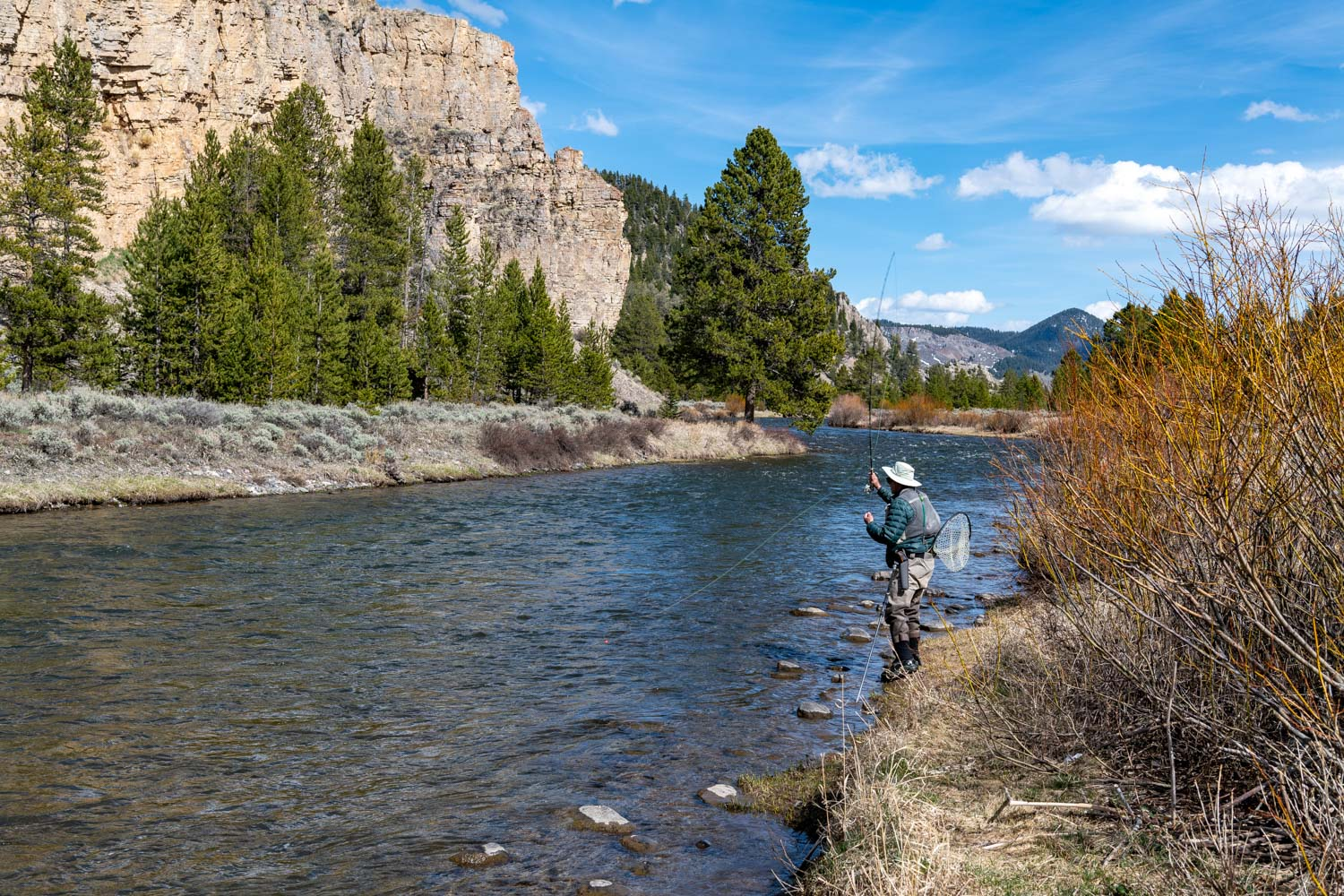 A fly fisherman in the Gallatin River